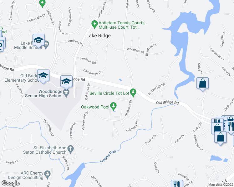 map of restaurants, bars, coffee shops, grocery stores, and more near 12535 Armada Pl in Woodbridge