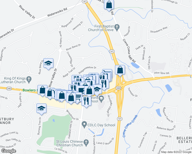 map of restaurants, bars, coffee shops, grocery stores, and more near 1100 Marcus Aurelius Walk in Chesterfield