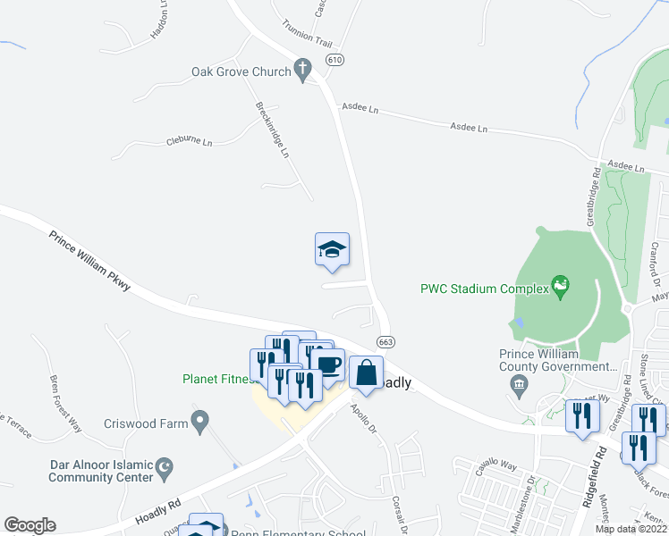 map of restaurants, bars, coffee shops, grocery stores, and more near 5023 Davis Ford Road in Woodbridge