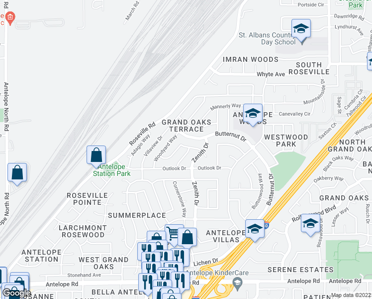 map of restaurants, bars, coffee shops, grocery stores, and more near 8259 Yardgate Way in Citrus Heights