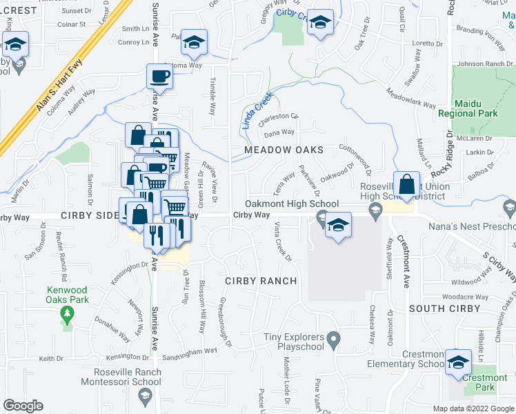 map of restaurants, bars, coffee shops, grocery stores, and more near 1515 Cirby Way in Roseville