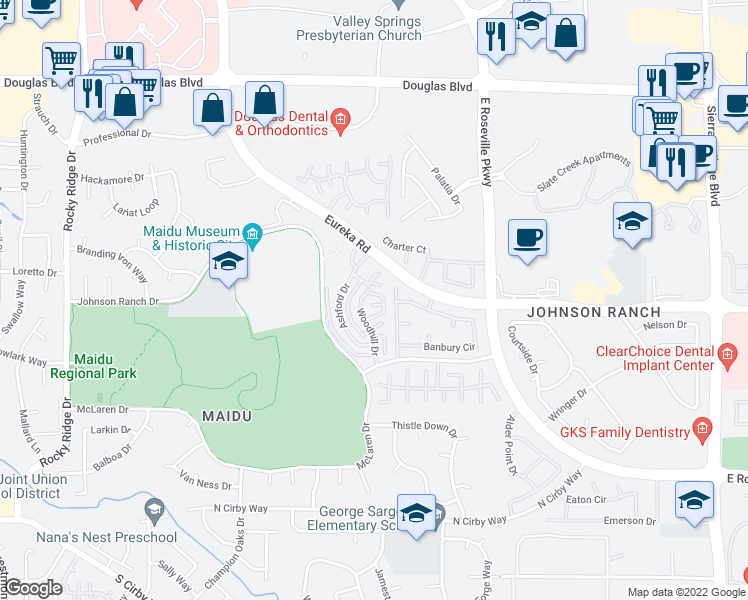 map of restaurants, bars, coffee shops, grocery stores, and more near 2023 Fernwood Cir in Roseville