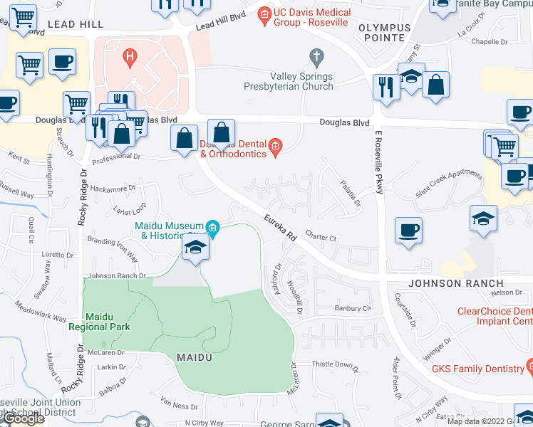 map of restaurants, bars, coffee shops, grocery stores, and more near 1801 Eureka Rd in Roseville