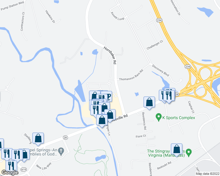 map of restaurants, bars, coffee shops, grocery stores, and more near Partnership Ln in Manassas