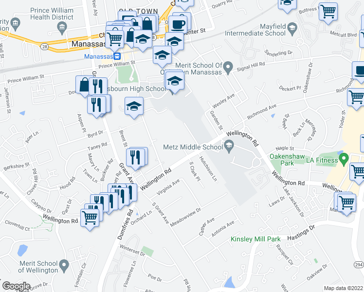 map of restaurants, bars, coffee shops, grocery stores, and more near 8980 Wood Drift Circle in Manassas