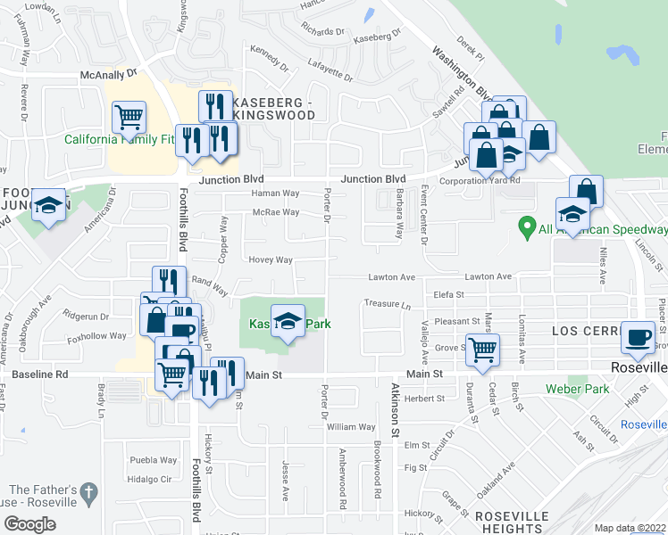map of restaurants, bars, coffee shops, grocery stores, and more near 1089 Porter Dr in Roseville