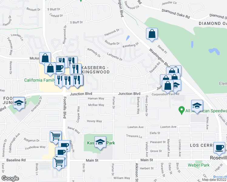 map of restaurants, bars, coffee shops, grocery stores, and more near 109 Davis Court in Roseville