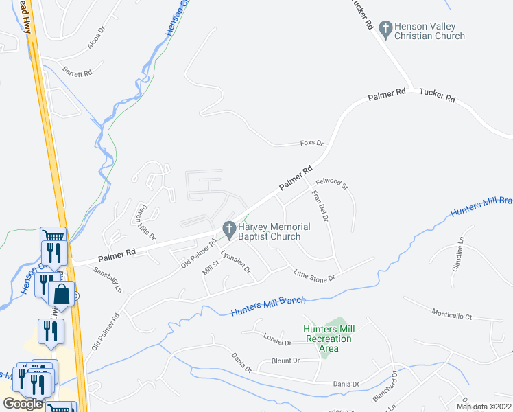 map of restaurants, bars, coffee shops, grocery stores, and more near Palmer Rd in Fort Washington
