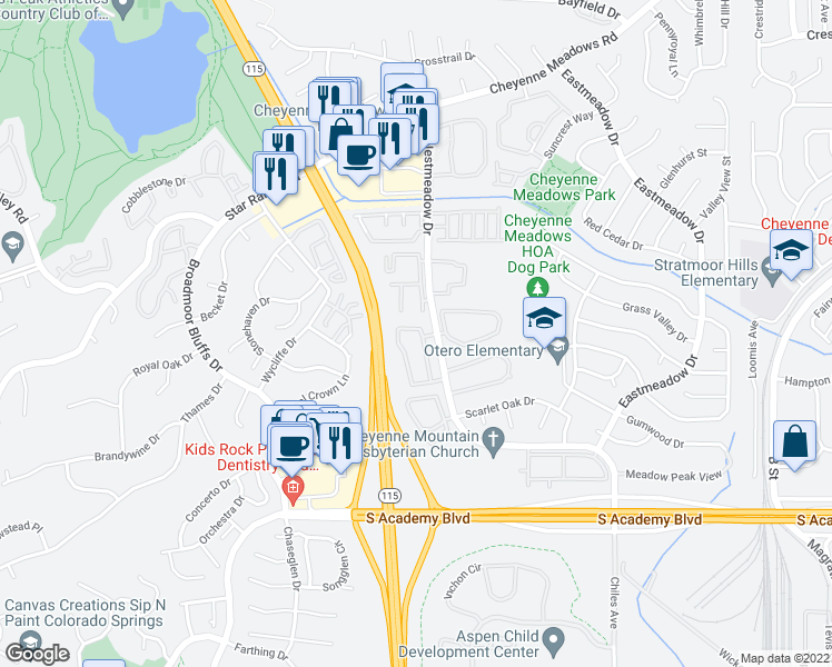 map of restaurants, bars, coffee shops, grocery stores, and more near Mountain View Apartment in Colorado Springs