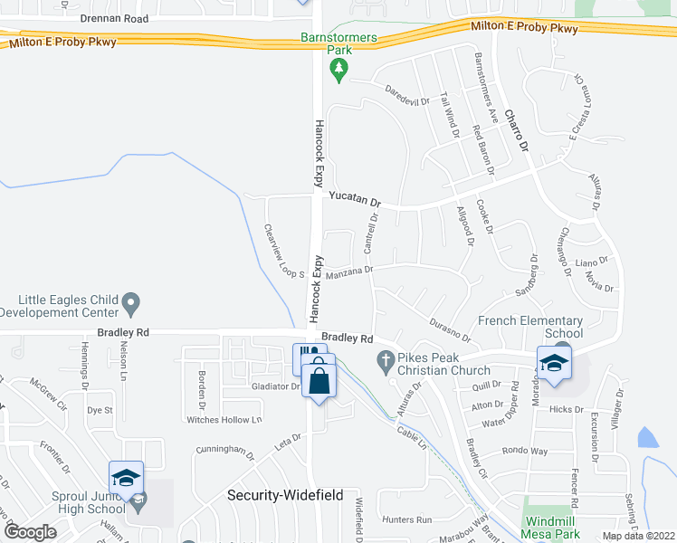 map of restaurants, bars, coffee shops, grocery stores, and more near 4801-4823 Manzana Dr in Colorado Springs