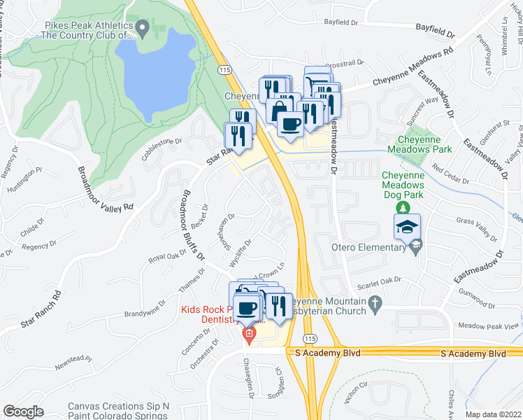 map of restaurants, bars, coffee shops, grocery stores, and more near Wycliffe Dr & Stonehaven Dr in Colorado Springs