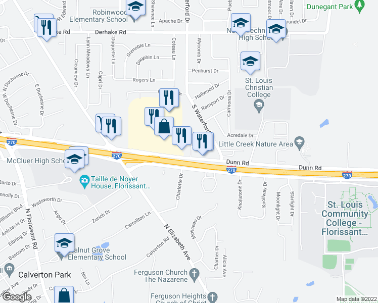 map of restaurants, bars, coffee shops, grocery stores, and more near 1476 Stonebury Court in Florissant