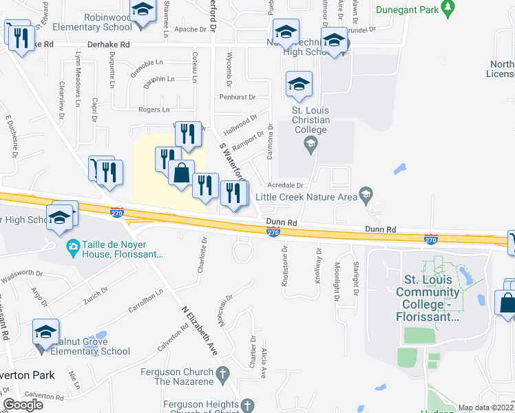 map of restaurants, bars, coffee shops, grocery stores, and more near 1415 Acredale Drive in Florissant
