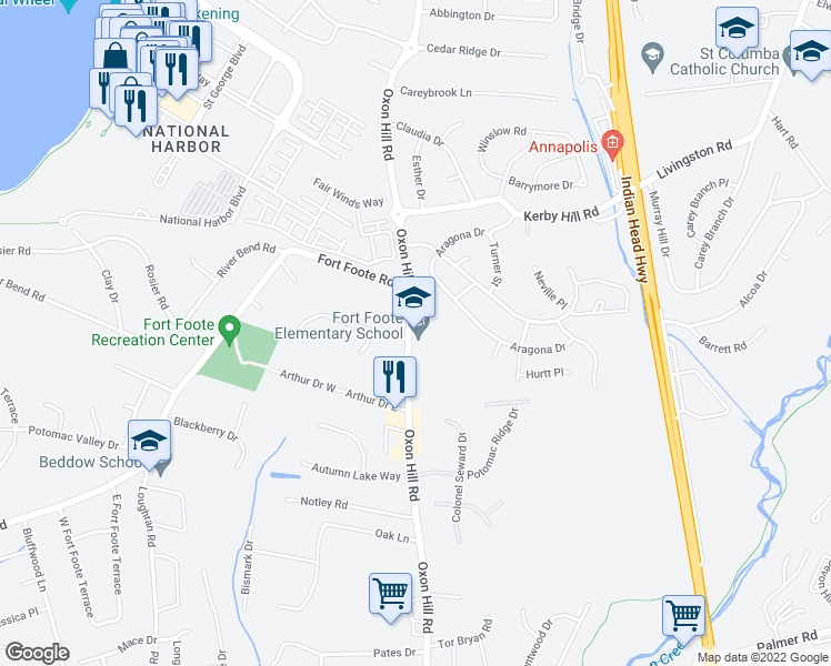 map of restaurants, bars, coffee shops, grocery stores, and more near 8212 Oxon Hill Road in Fort Washington