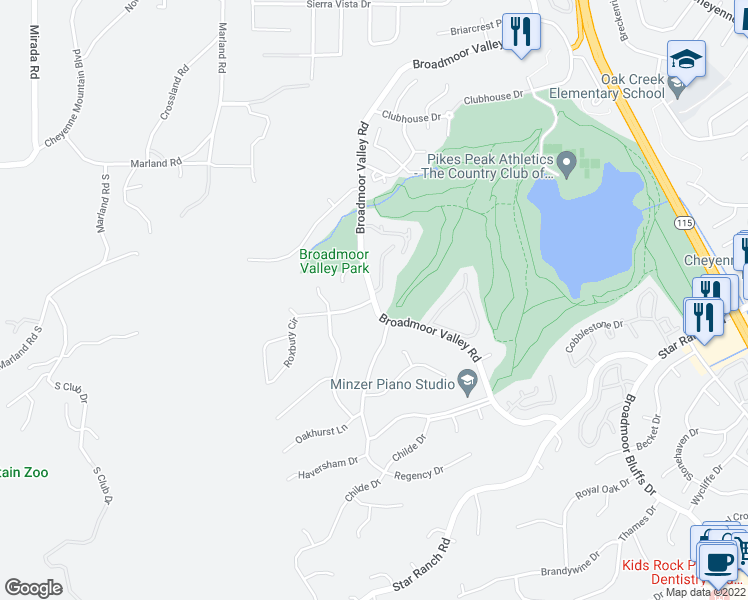 map of restaurants, bars, coffee shops, grocery stores, and more near Broadmoor Valley Rd & Roxbury Cir in Colorado Springs