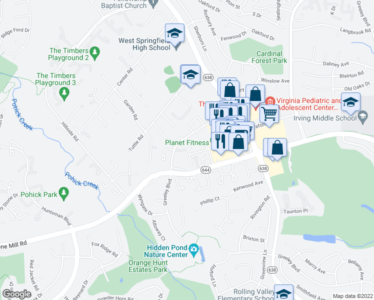 map of restaurants, bars, coffee shops, grocery stores, and more near 8522-8598 Burling Wood Drive in West Springfield