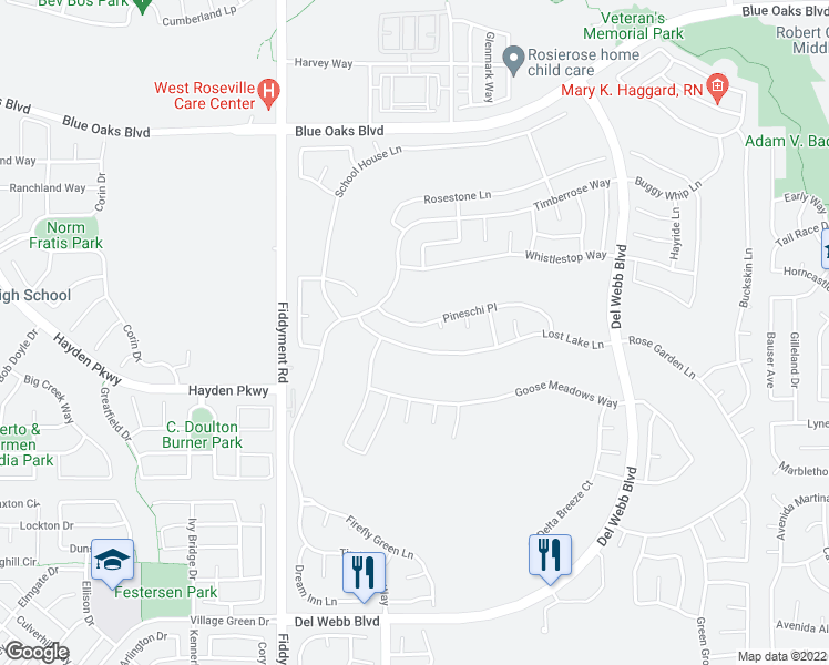 map of restaurants, bars, coffee shops, grocery stores, and more near 7288 Pineschi Pl in Roseville