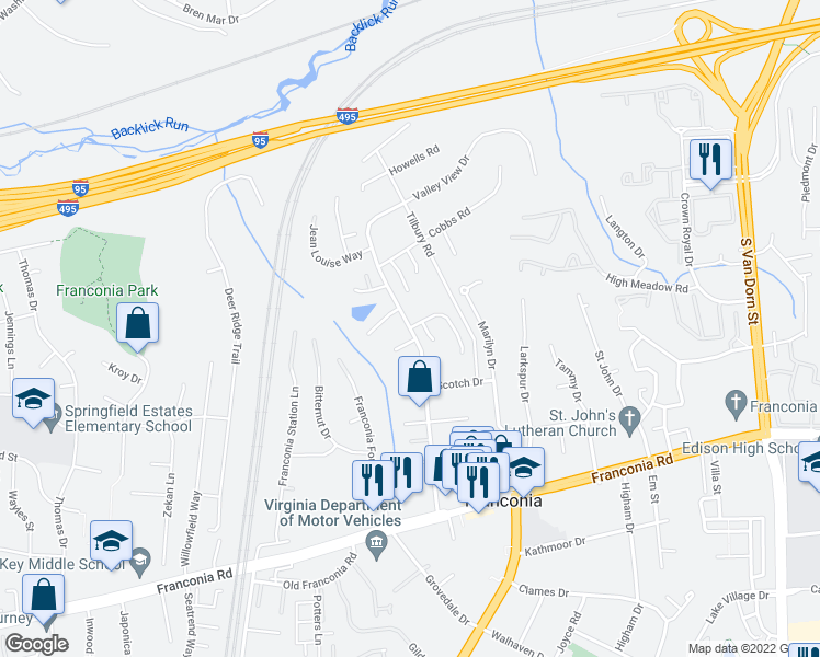 map of restaurants, bars, coffee shops, grocery stores, and more near Valley View Dr & McLendon Ct in Franconia