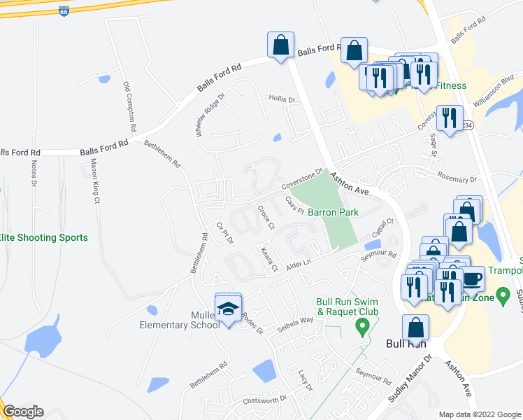 map of restaurants, bars, coffee shops, grocery stores, and more near 7601-7699 Croce Court in Manassas