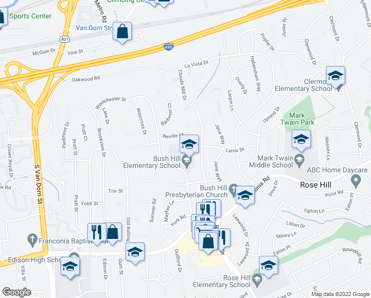 map of restaurants, bars, coffee shops, grocery stores, and more near 5315 Neville Court in Alexandria