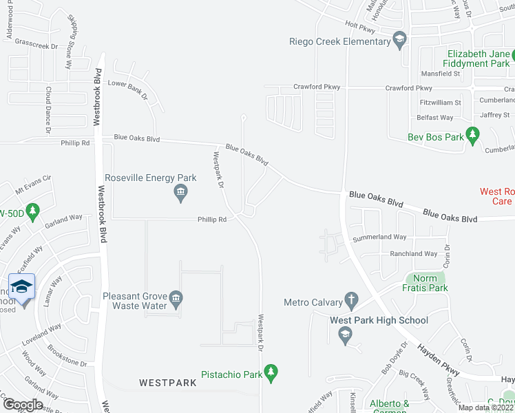 map of restaurants, bars, coffee shops, grocery stores, and more near 2351 Wharton Lane in Roseville