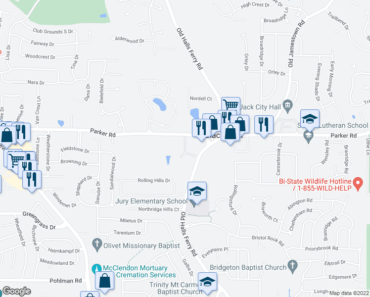 map of restaurants, bars, coffee shops, grocery stores, and more near 4615 Whisper Lake Drive in Florissant