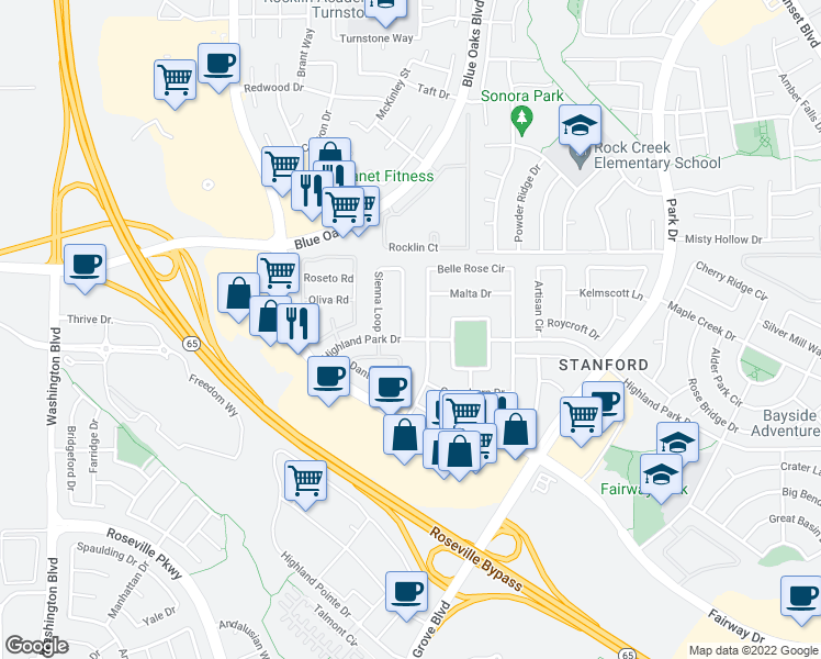 map of restaurants, bars, coffee shops, grocery stores, and more near Highland Park Drive in Roseville