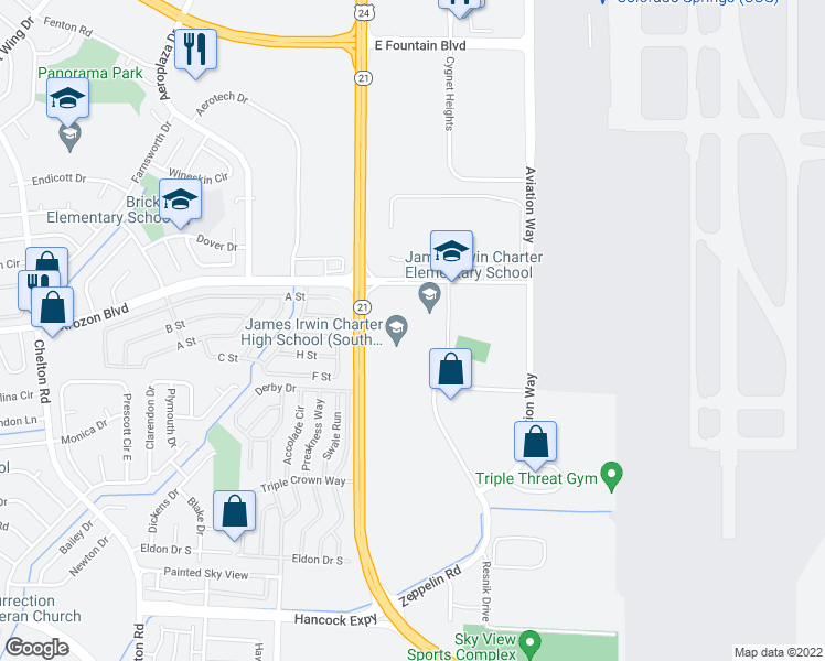 map of restaurants, bars, coffee shops, grocery stores, and more near 5525 Astrozon Boulevard in Colorado Springs