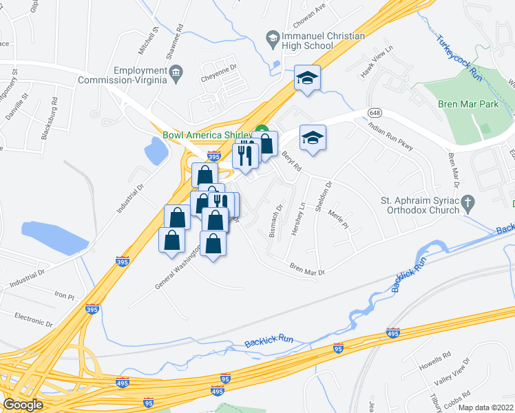 map of restaurants, bars, coffee shops, grocery stores, and more near Grove Mill Road in Alexandria