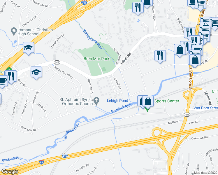map of restaurants, bars, coffee shops, grocery stores, and more near 6021 Independence Way in Alexandria
