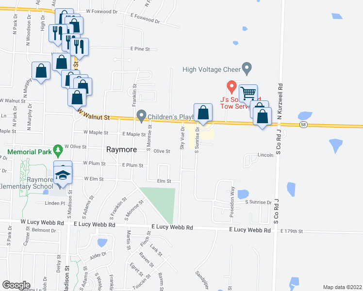 map of restaurants, bars, coffee shops, grocery stores, and more near 300 Sky Vue Drive in Raymore
