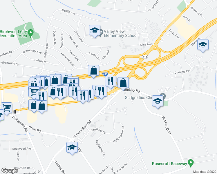 map of restaurants, bars, coffee shops, grocery stores, and more near 25 in Oxon Hill-Glassmanor