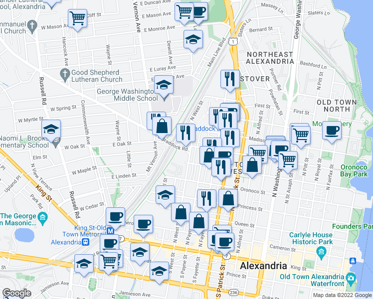 map of restaurants, bars, coffee shops, grocery stores, and more near 535 E Braddock Rd in Alexandria