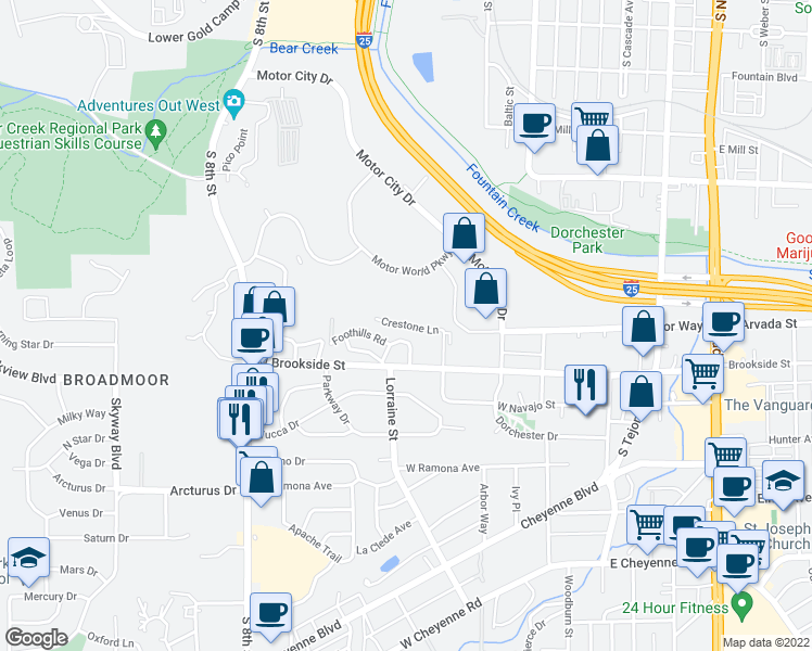 map of restaurants, bars, coffee shops, grocery stores, and more near 401-499 Crestone Lane in Colorado Springs