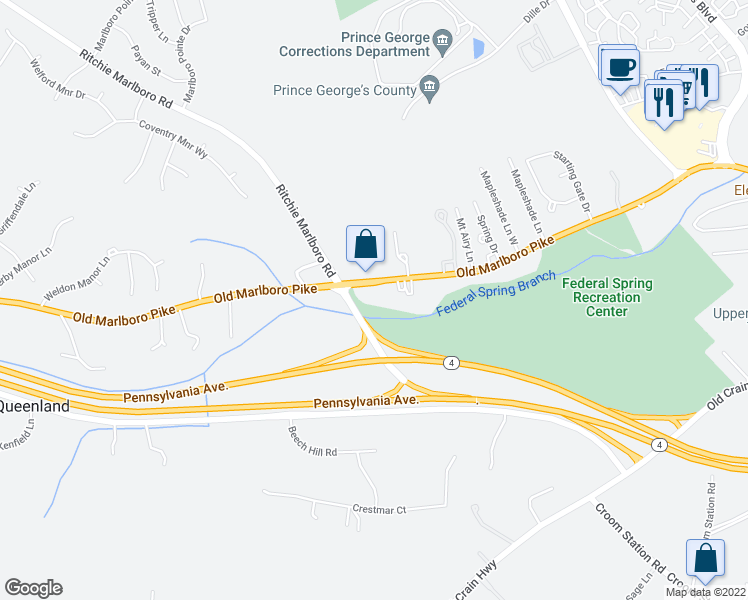 map of restaurants, bars, coffee shops, grocery stores, and more near 13221-13327 Old Marlboro Pike in Upper Marlboro