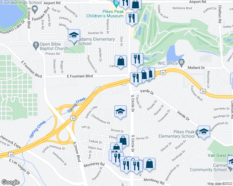 map of restaurants, bars, coffee shops, grocery stores, and more near 2616 Verde Dr in Colorado Springs