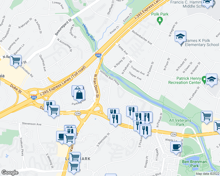 map of restaurants, bars, coffee shops, grocery stores, and more near 200 N Ripley St in Alexandria