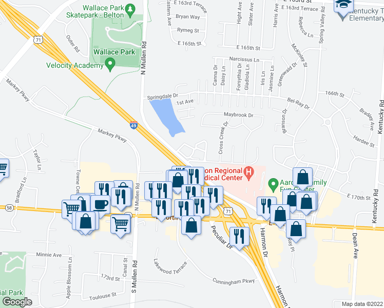 map of restaurants, bars, coffee shops, grocery stores, and more near Industrial Pkwy in Belton