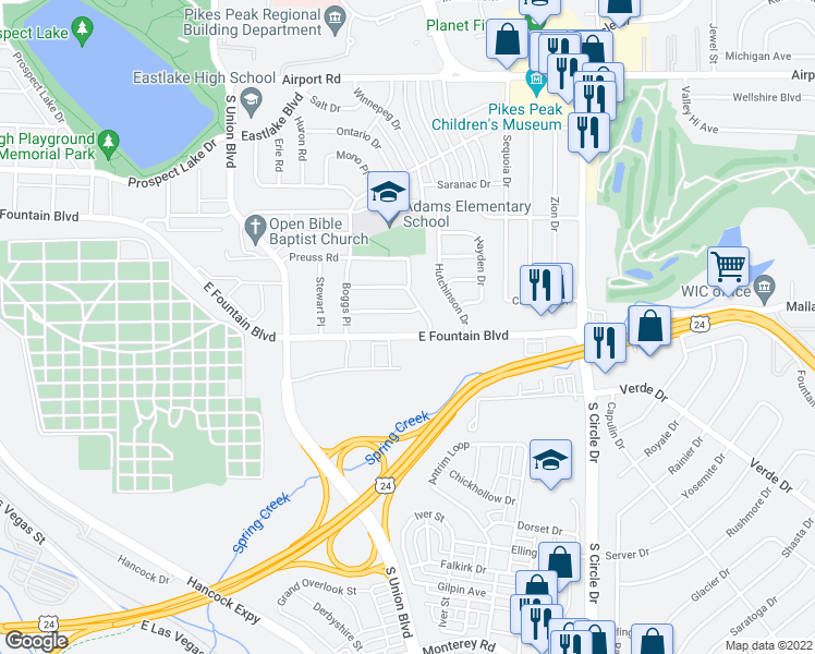 map of restaurants, bars, coffee shops, grocery stores, and more near 2210 East Fountain Boulevard in Colorado Springs