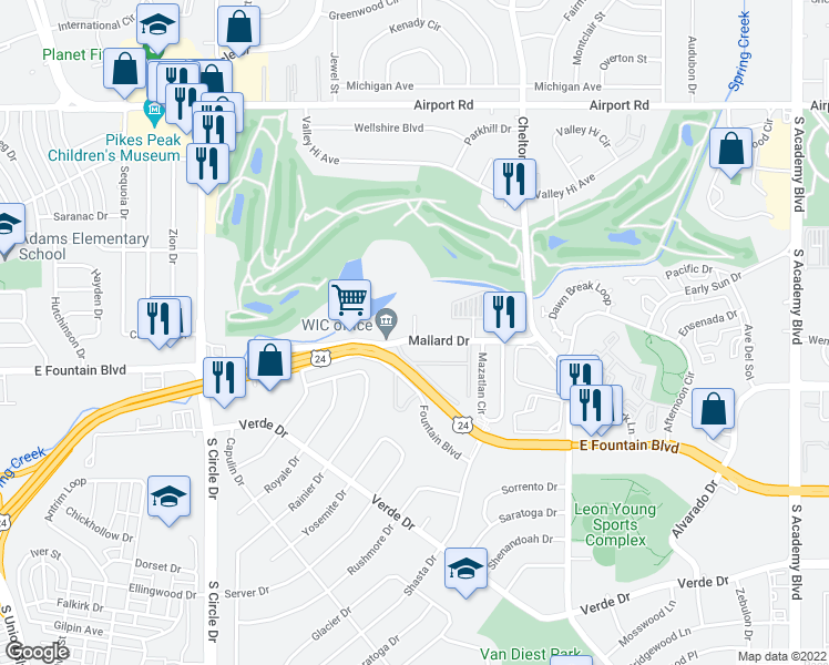 map of restaurants, bars, coffee shops, grocery stores, and more near 915 Teal Ct in Colorado Springs