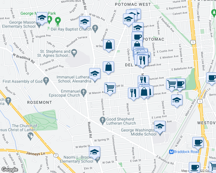 map of restaurants, bars, coffee shops, grocery stores, and more near 15 E Cliff St in Alexandria