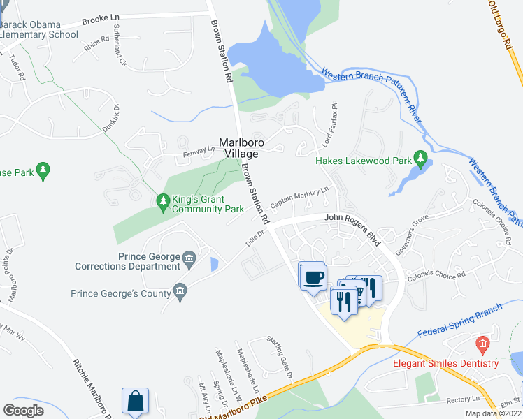 map of restaurants, bars, coffee shops, grocery stores, and more near 4605 Brown Station Road in Upper Marlboro