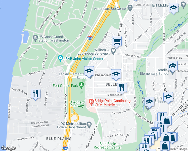 map of restaurants, bars, coffee shops, grocery stores, and more near 4119 Martin Luther King Junior Avenue Southwest in Washington