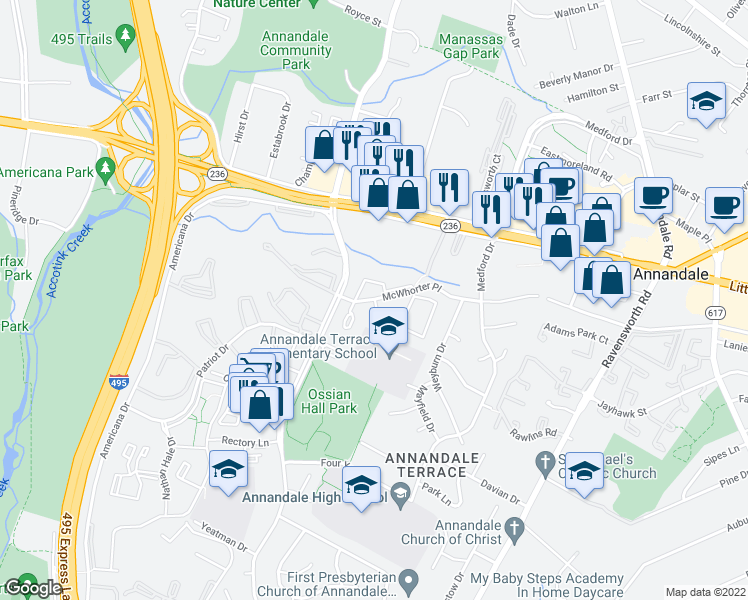 map of restaurants, bars, coffee shops, grocery stores, and more near 7615 McWhorter Place in Annandale