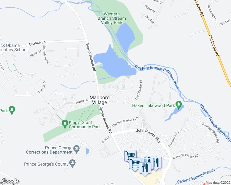 map of restaurants, bars, coffee shops, grocery stores, and more near 13501-13599 Lord Sterling Place in Upper Marlboro