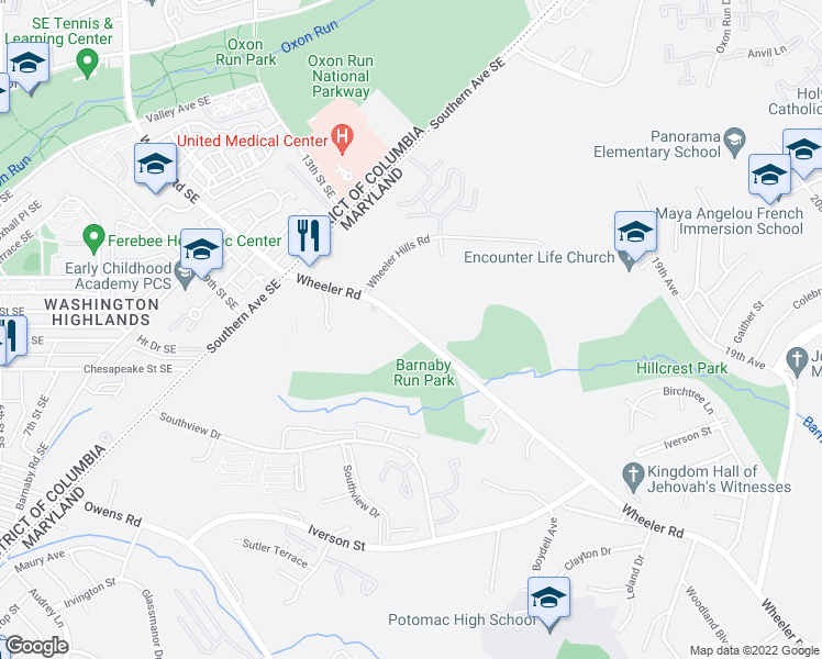 map of restaurants, bars, coffee shops, grocery stores, and more near 4545 Wheeler Rd in Oxon Hill