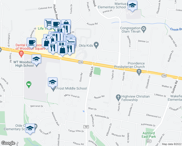 map of restaurants, bars, coffee shops, grocery stores, and more near 4023 Olley Lane in Fairfax