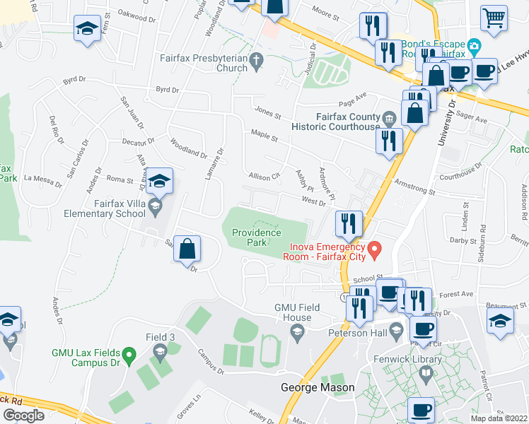 map of restaurants, bars, coffee shops, grocery stores, and more near 10724 West Dr in Fairfax