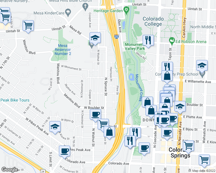 map of restaurants, bars, coffee shops, grocery stores, and more near 501 North Spruce Street in Colorado Springs