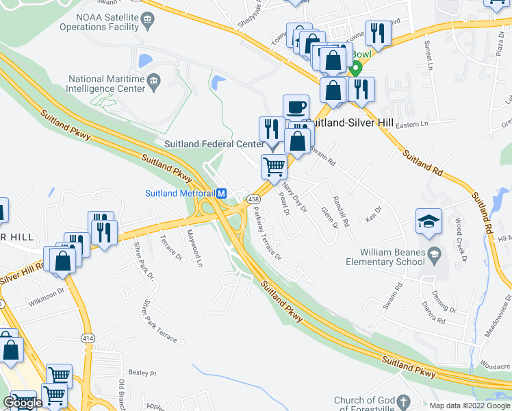 map of restaurants, bars, coffee shops, grocery stores, and more near in Suitland-Silver Hill